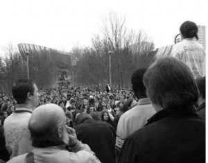 AG à l'université de Reims 20 mars 2006, mouvement CPE. Photo RM/Cité des mémoires étudiantes