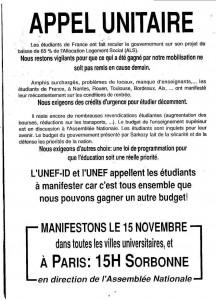 appel unitaire des UNEF 15 novembre 1994