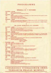 Première page du programme du congrès de 1945. Fonds Tom Madden. Cité des mémoires étudiantes.