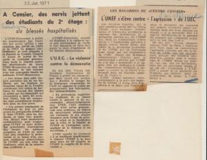 L'Humanité 22 01 1971 Combat 25 01 1971 Censier