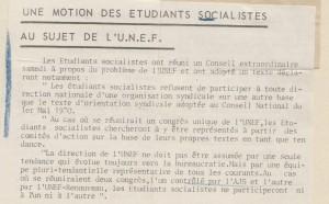 Le bulletin socialiste 26 janvier 1971 Motion des ES