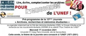 """13e JARME: """"pour l'histoire de l'UNEF"""" @ CY Cergy Paris Université - INSPÉ, Site de Gennevilliers, ZAC des Barbanniers,"""